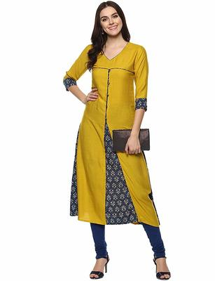 Mustard Colour Rayon Kurti With Front Slit