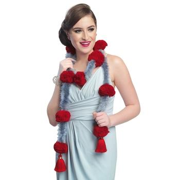 Caressa By Zenitex Grey Woollen Red Pom-Pom With Tasselled And Fur Tasselled Fantasy Wear