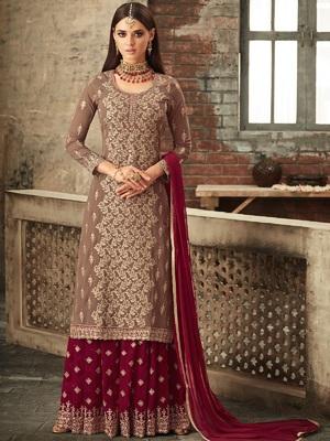 Dark chiku embroidered faux georgette semi stitched salwar with dupatta