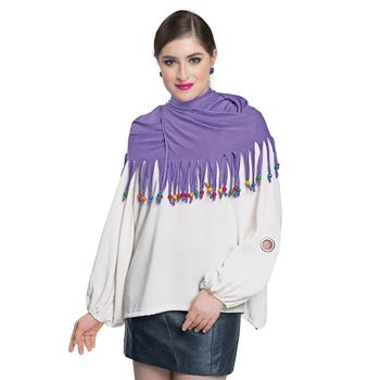 Caressa By Zenitex Purple Georgette Curtain Lace Fashion Accessory