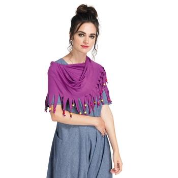 Caressa By Zenitex Magenta Coloured Digital Printed Black Curtain Lace Fashion Accessory
