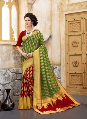 Mehendi woven silk blend saree with blouse