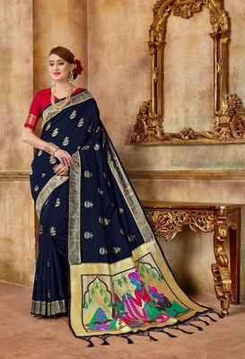 Blue woven silk blend saree with blouse