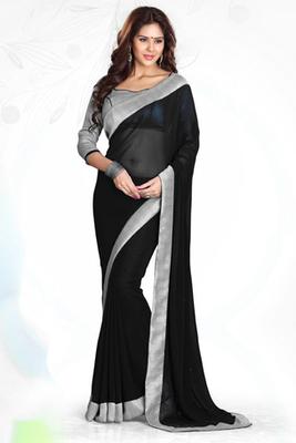7dbad88586 Black - Grey plain georgette saree with blouse - Mirchi Fashion - 382182