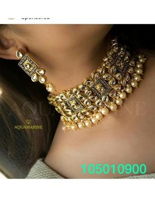 Alloy Kundan Wedding Necklace Set with Earrings