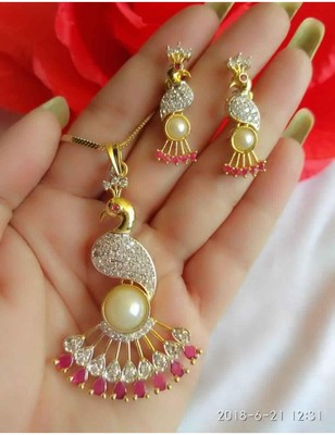 Peacock American Diamond Necklace Set
