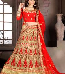 Red Embroidered Net Semi Stitched Lehenga With Dupatta