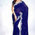 Navy-Blue embroidered georgette saree with blouse