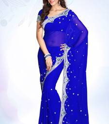 Buy Royal Blue embroidered georgette saree with blouse black-friday-deal-sale online