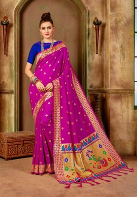Pink woven paithani silk saree with blouse