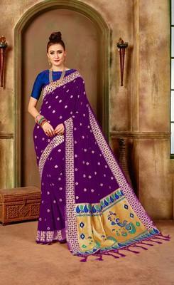 Purple woven paithani silk saree with blouse