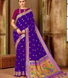Purple woven paithani silk saree with blouse