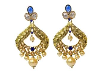 Blue Cubic Zirconia Polki Earrings