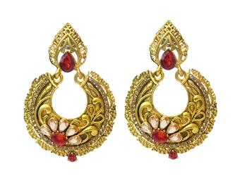 Red Cubic Zirconia Polki Earrings