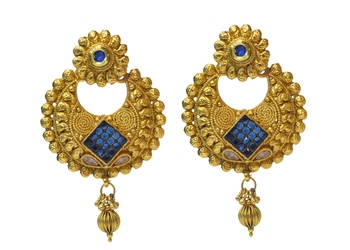 Blue Cubic Zirconia Polki Earrings