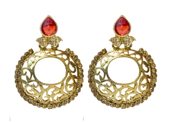 Red Cubic Zirconia Polki Earrings