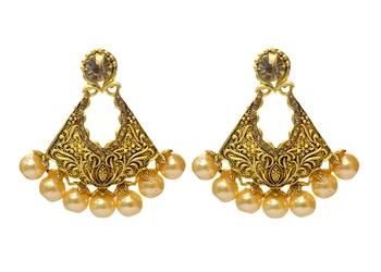 Gold Cubic Zirconia Polki Earrings