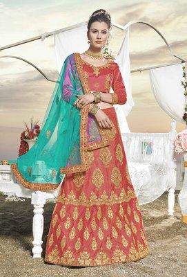 Pink Embroidered Silk Semi Stitched Lehenga With Dupatta