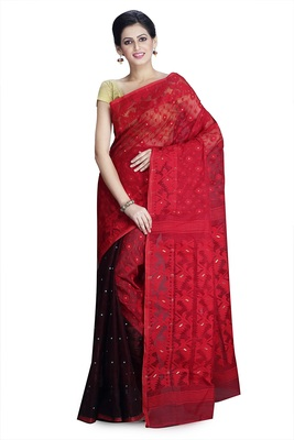Red hand woven silk cotton saree