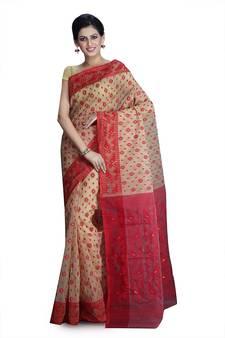 6adbaf5847e Beige hand woven silk cotton saree