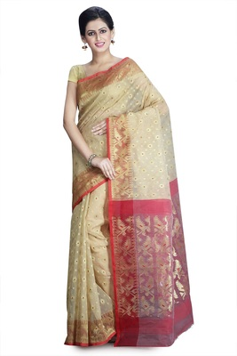 Golden hand woven silk cotton saree