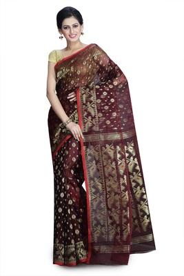 Brown hand woven silk cotton saree