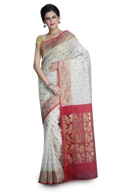 Off white hand woven silk cotton saree