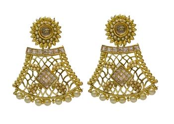 Golden Cubic Zirconia Polki Earrings