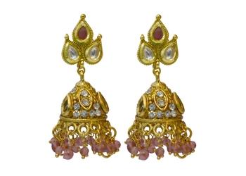 Ruby Cubic Zirconia Polki Earrings