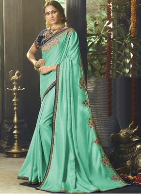 Sky Blue Embroidered Silk Blend Saree With Blouse