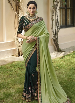 Lime Embroidered Silk Blend Saree With Blouse