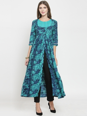 Turquoise woven rayon kurti with trouser