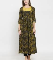 Mustard woven rayon kurti with trouser