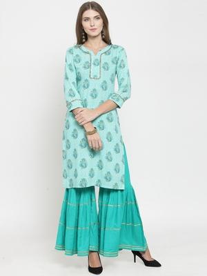Indibelle Turquoise woven rayon kurti with palazzo