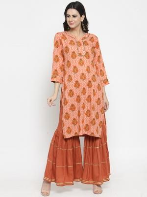 Indibelle Peach woven rayon kurti with palazzo