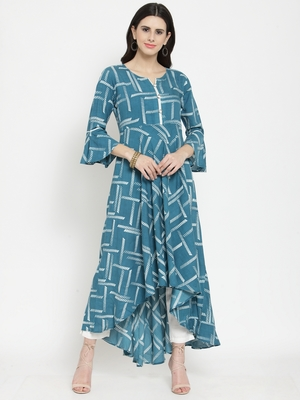 Teal woven rayon kurti with trouser