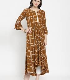 Brown woven rayon kurti with trouser