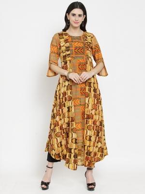 Orange woven rayon kurti with trouser