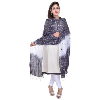 Black White Bandhej Cotton Hand Work Dupatta