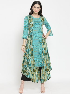Indibelle Teal woven rayon kurta with trouser