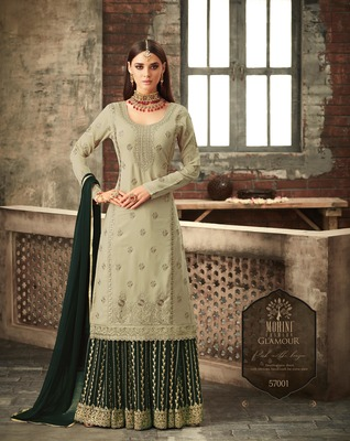 Light-green embroidered faux georgette salwar with dupatta