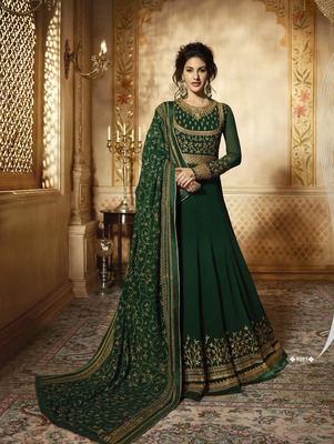 Green embroidered faux georgette anarkali with dupatta