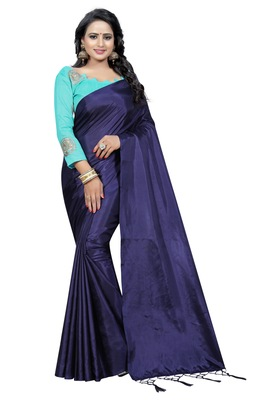 Navy blue plain paper cotton saree with blouse