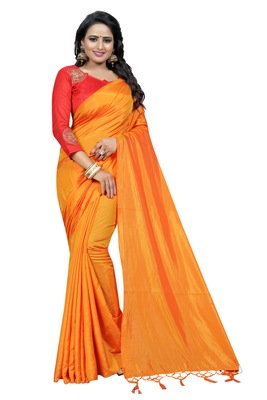 Orange plain paper cotton saree with blouse
