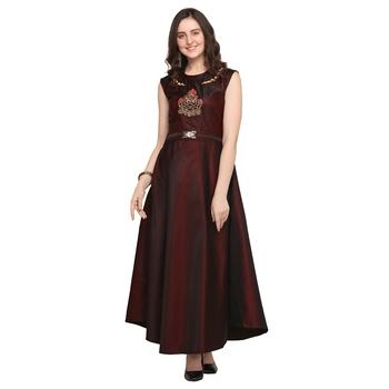 Dark-maroon hand embroidery taffeta salwar