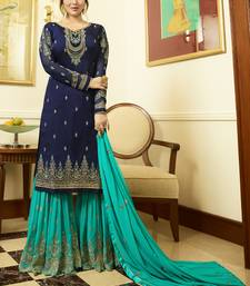 Buy Blue embroidered georgette salwar sharara online