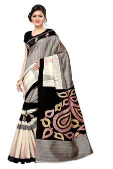 fe04f0c72 Mirraw Grey Sarees – Buy Grey Saree with Golden