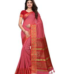 Pink woven chanderi silk saree with blouse