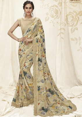 Grey printed faux kora saree with blouse