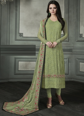 Sea-green embroidered georgette salwar
